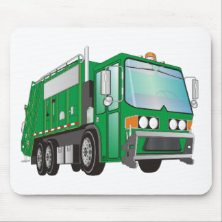 3d Garbage Truck Green Mouse Mat