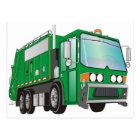 3d Garbage Truck Green Postcard