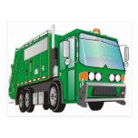 3d Garbage Truck Green Postcards