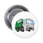 3d Garbage Truck Green White Cab 6 Cm Round Badge