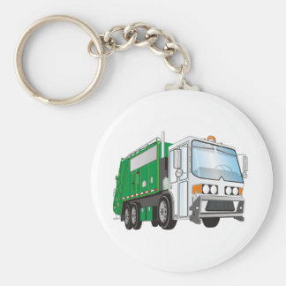 3d Garbage Truck Green White Cab Basic Round Button Key Ring
