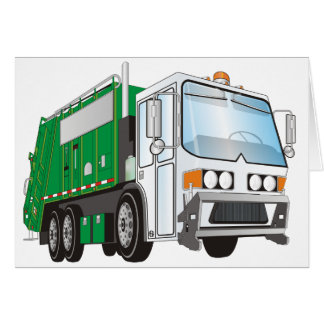 3d Garbage Truck Green White Cab Card