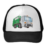 3d Garbage Truck Green White Cab Mesh Hat