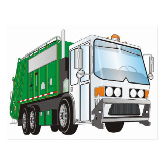 3d Garbage Truck Green White Cab Postcard
