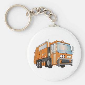 3d Garbage Truck Orange Key Ring