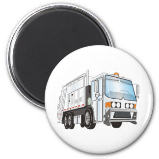 3d Garbage Truck White Magnet