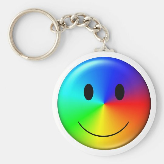 3D Gay Pride Smiley Basic Round Button Key Ring