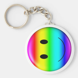 3D Gay Pride Smiley Key Ring