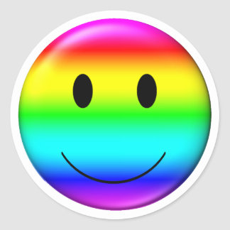 3D Gay Pride Smiley Round Sticker