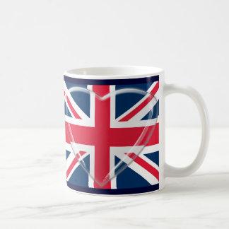 3D Glass Heart and Union Jack Flag Basic White Mug