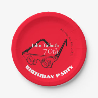 3D Glasses 70th Birthday Party Paper Plate