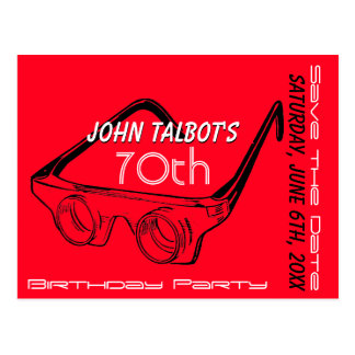 3D Glasses 70th Birthday Save the Date Postcard