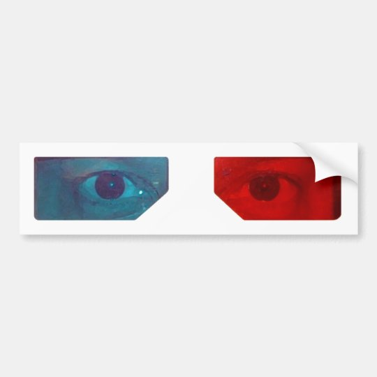3D glasses bumper sticker