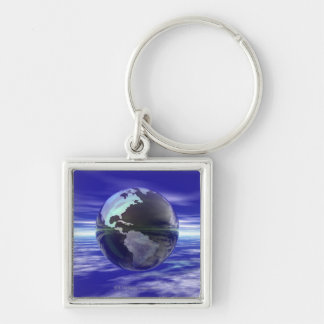 3D Globe 10 Silver-Colored Square Key Ring