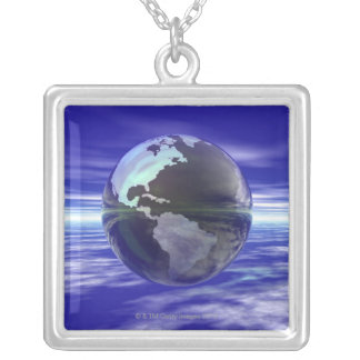 3D Globe 10 Silver Plated Necklace