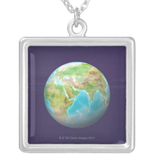 3D Globe 11 Silver Plated Necklace