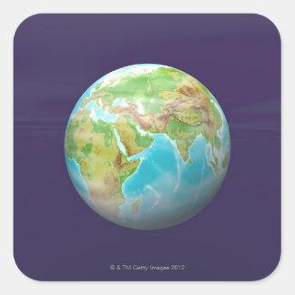 3D Globe 11 Square Sticker