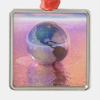 3D Globe 12 Christmas Ornament