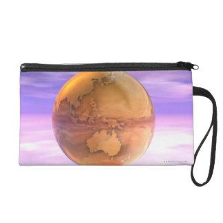3D Globe 14 Wristlet Clutch