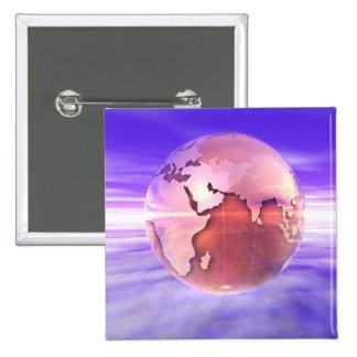 3D Globe 17 15 Cm Square Badge