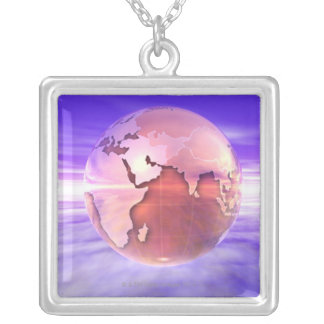 3D Globe 17 Silver Plated Necklace