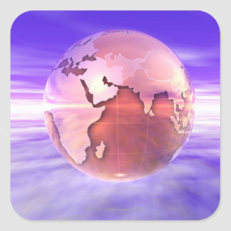 3D Globe 17 Square Sticker