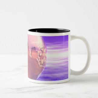 3D Globe 17 Two-Tone Coffee Mug