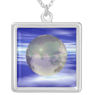 3D Globe 3 Silver Plated Necklace
