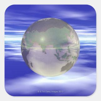 3D Globe 3 Square Sticker