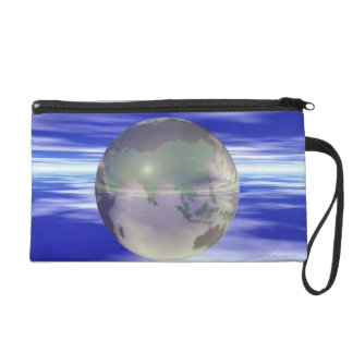 3D Globe 3 Wristlet Clutch