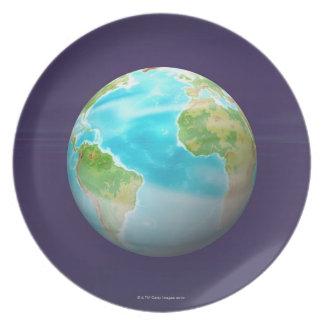 3D Globe 4 Plate