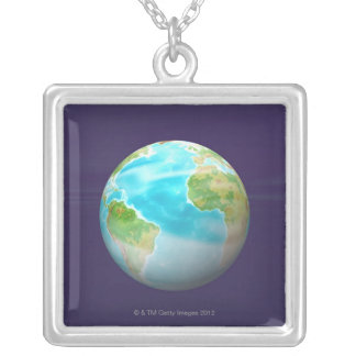 3D Globe 4 Silver Plated Necklace