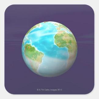 3D Globe 4 Square Sticker