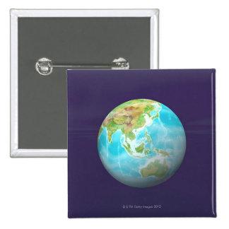 3D Globe 6 15 Cm Square Badge