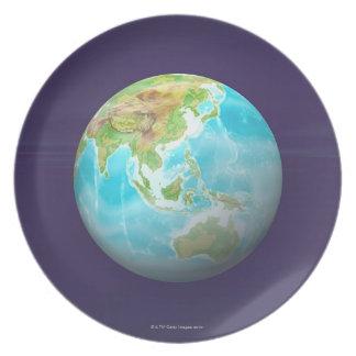 3D Globe 6 Plate