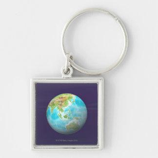 3D Globe 6 Silver-Colored Square Key Ring
