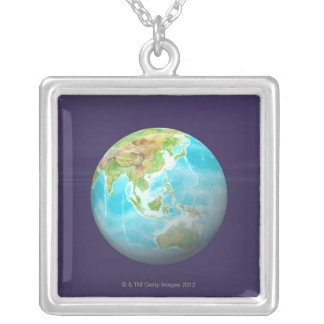 3D Globe 6 Silver Plated Necklace