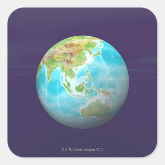 3D Globe 6 Square Sticker
