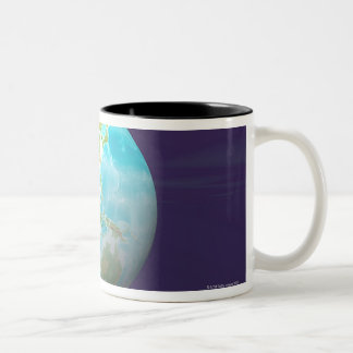 3D Globe 6 Two-Tone Coffee Mug