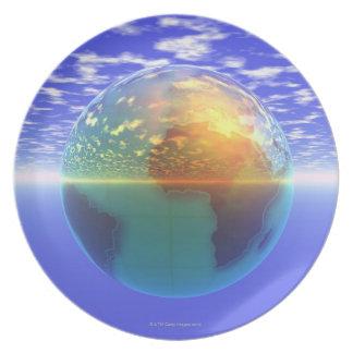 3D Globe 9 Plate