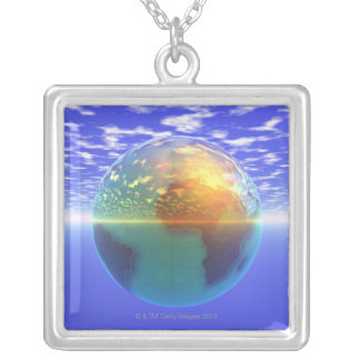 3D Globe 9 Silver Plated Necklace