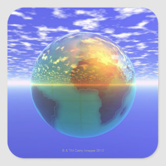 3D Globe 9 Square Sticker