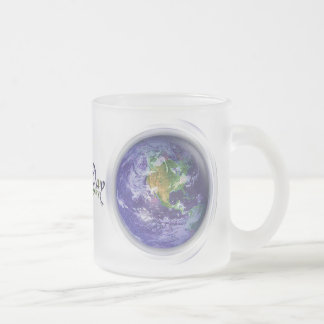 3D Globe Earth Day Frosted Glass Mug