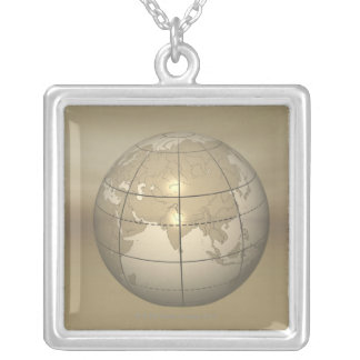 3D Globe Silver Plated Necklace
