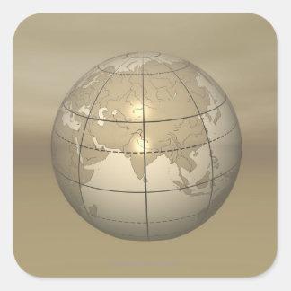 3D Globe Square Sticker
