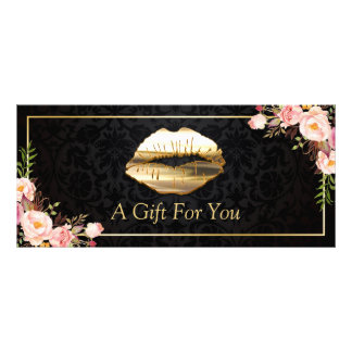 3D Gold Lips Beauty Salon Floral Gift Certificate Rack Card