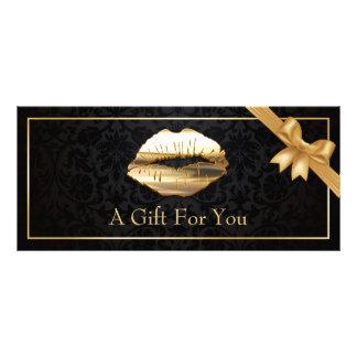 3D Gold Lips Makeup Artist Floral Gift Certificate 10 Cm X 23 Cm Rack Card