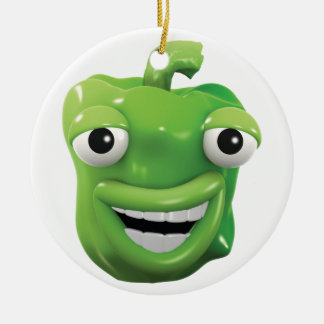 3d Green pepper laughs! Round Ceramic Decoration
