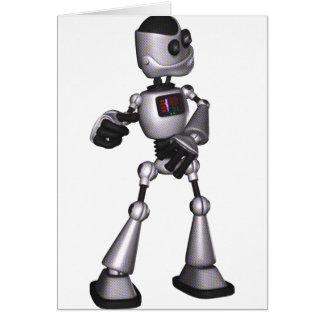♪♫♪ 3D Halftone Sci-Fi Robot Guy Dancing Greeting Card