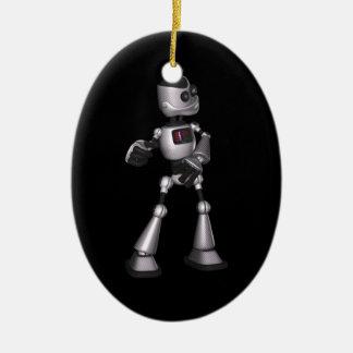 ♪♫♪ 3D Halftone Sci-Fi Robot Guy Dancing Christmas Ornament
